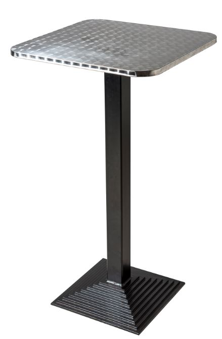 Cast Iron Bar Table With Square Stainless Steel Top