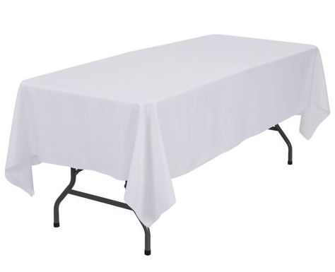 2.4m White Rectangle Table Cloth